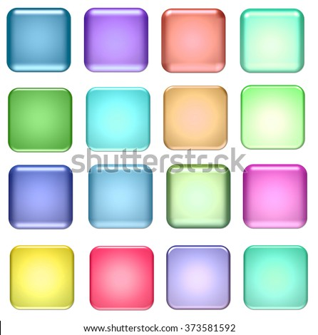 blue and green square glass buttons for design - stock photo