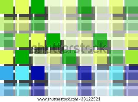 Blue and green squares design. Abstract illustration