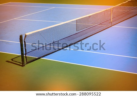 blue and green tennis court sport background, image used vintage filter