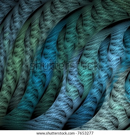 Blue and green textured waves / ripples  on black background - stock photo