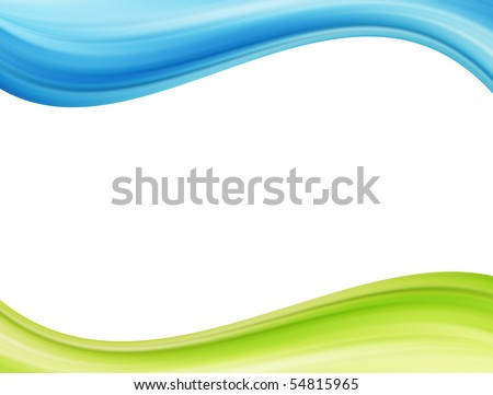 Blue and green waves over white background. Template illustration - stock photo