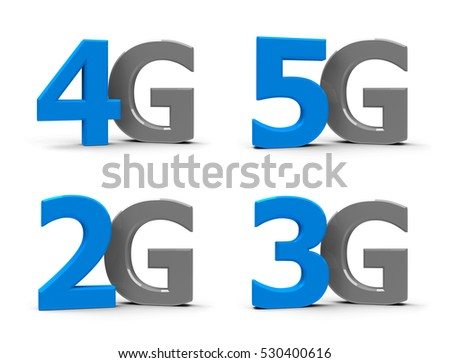 Blue and grey 5g, 4g, 3g, 2g symbols, icons or buttons isolated on white background, three-dimensional rendering, 3D illustration