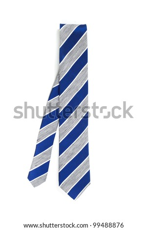 Blue and grey necktie isolated on white background - stock photo