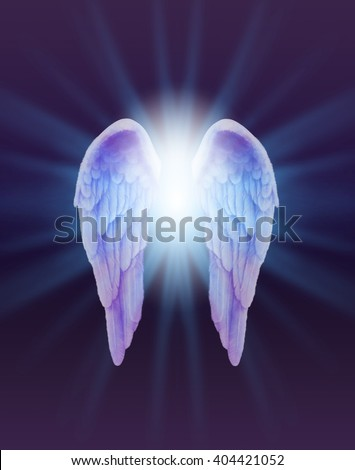 Blue and Lilac Angel Wings on a dark background - a pair of finely feathered Angel Wings with a bright white light bursting between radiating outwards subtle blue on a dark purple and black background - stock photo