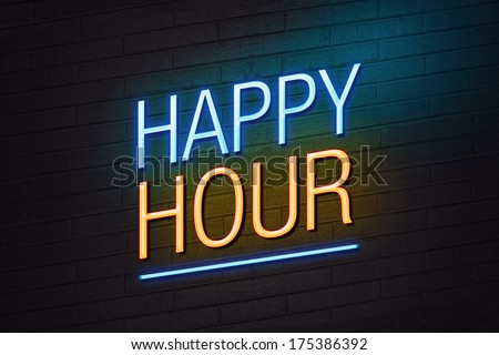 Blue and orange neon sign with happy hour text on wall - stock photo