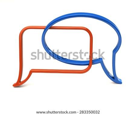 Blue and orange speech bubbles icon  - stock photo