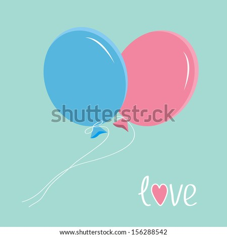 Blue and pink balloons. Love card. Rasterized copy.