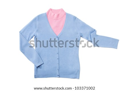 Blue and pink woman knitted blouses set on white isolated