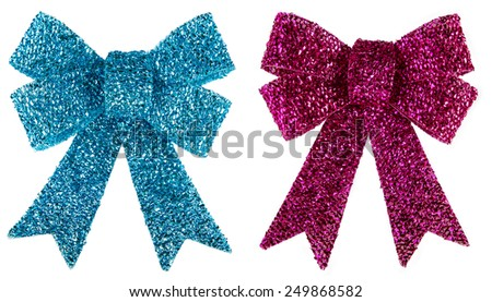 Blue and purple glitter bow isolated on white - stock photo