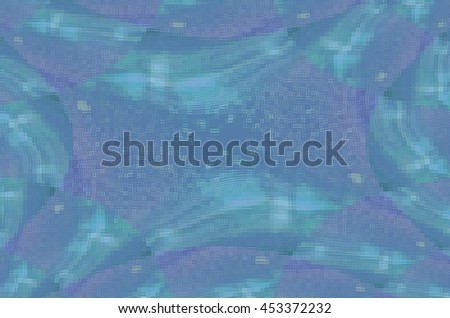 Blue and Purple Kaleidoscopic Wavy Stripes Through Speckles Textured Pattern Distorted by Glass Tiles - stock photo