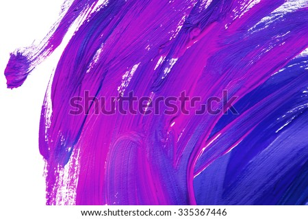 Blue and purple paint brush strokes on white as a background - stock photo