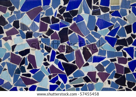 blue and purple rustic mosaic tile pattern - stock photo