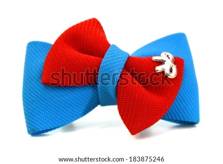 blue and red bow tie isolated on the white  - stock photo