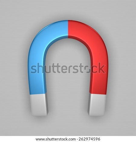 Blue and red glossy horseshoe or U shape magnet with white tips on gray background - stock photo