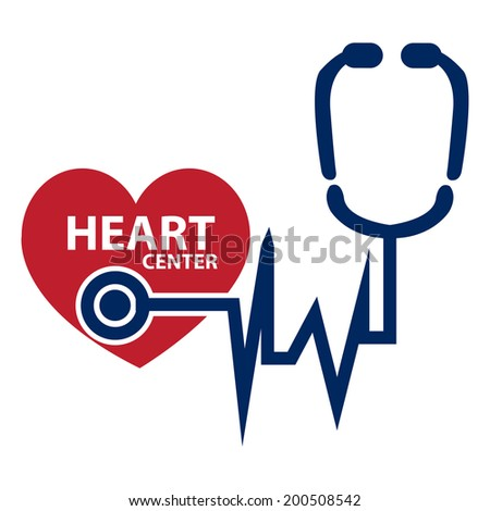 Blue and Red Heart Center Icon or Label Isolated on White Background - stock photo