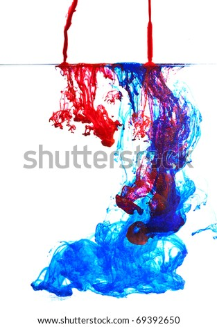 blue and red ink in water abstract - stock photo