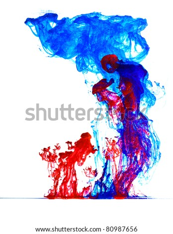 blue and red ink in water abstract upside down - stock photo
