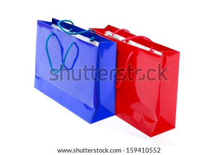 Blue and red packets isolated on a white background.