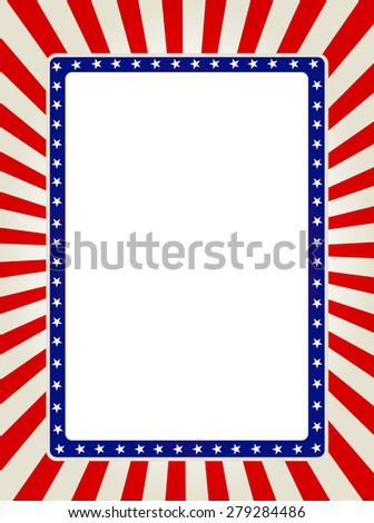 Blue and red patriotic stars and stripes page border / frame design collection - stock photo