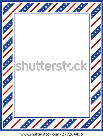 Blue and red patriotic stars and stripes page  border / frame design for 4th of july  - stock photo