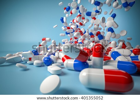 Blue and red pills falling on blue background. 3d render - stock photo