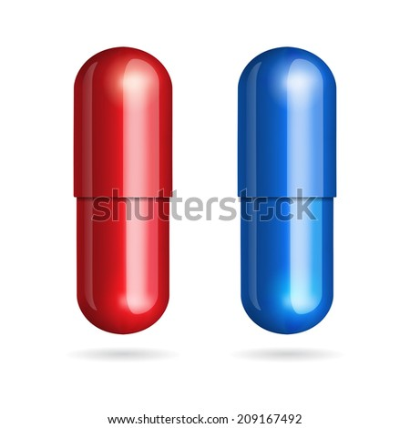 Blue and red pills on white background.