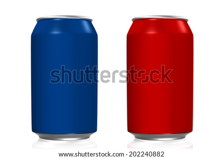 Blue and red soda cans with reflection on white background