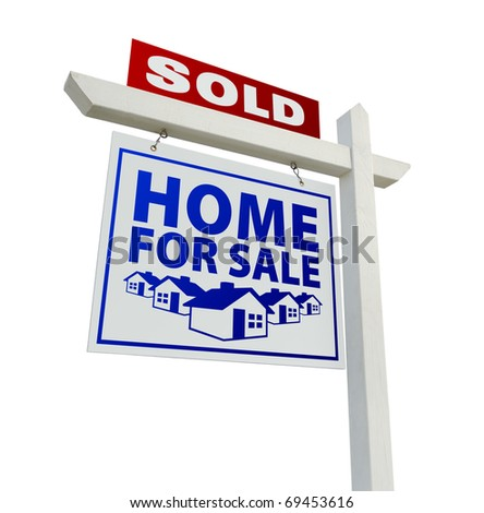Blue and Red Sold Home for Sale Real Estate Sign Isolated on a White Background. - stock photo