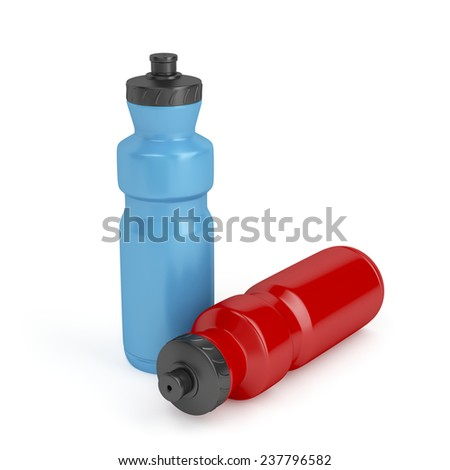Blue and red sport plastic water bottles