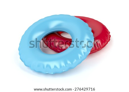 Blue and red swim rings on white background - stock photo