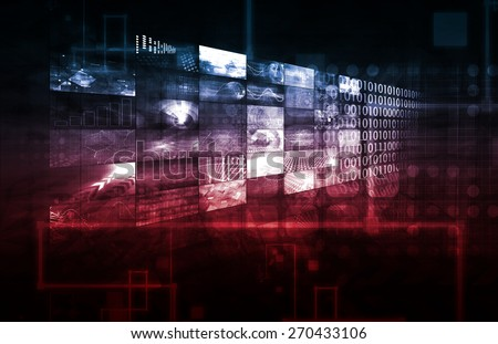 Blue and Red Technology Infrastructure as a IT Abstract Art - stock photo