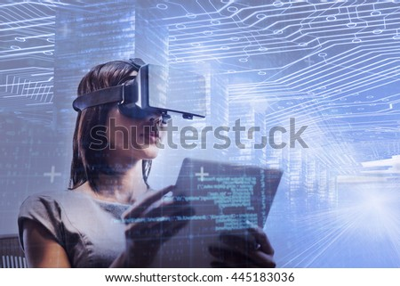 Blue and red technology interface against businesswoman looking her tablet while using a virtual glasses