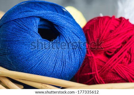 Blue and red yarn in a basket close up