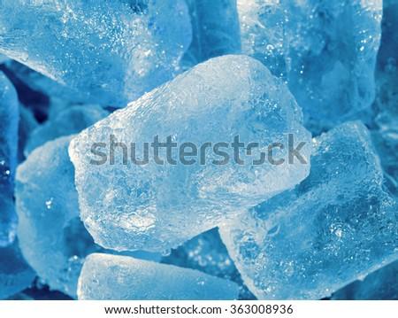 Blue and shiny ice cubes - stock photo