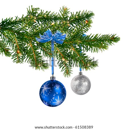 Blue and silver glass balls hanging on Christmas tree