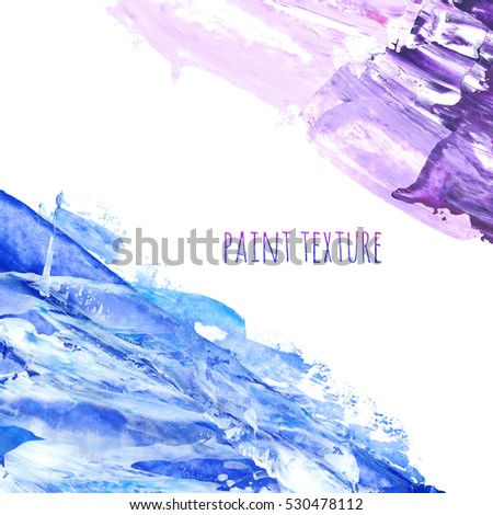 Blue and violet marble hand-painted brush stroke background texture. Oil painted abstract backdrop on canvas with spots and stains. Modern contemporary art, creative illustration design