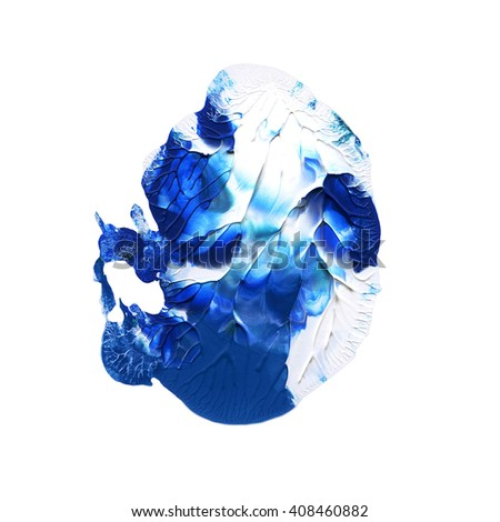 Blue and white acrylic design element,hand painted - stock photo