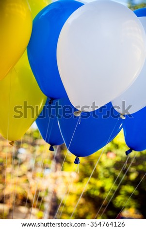 Blue and white balloons crowd - stock photo