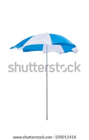 Blue and white beach umbrella isolated on white background - stock photo