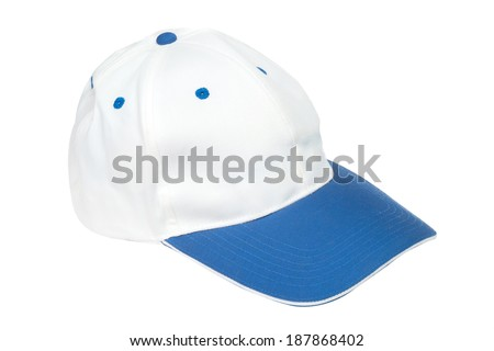 blue and white color  baseball caps isolated on white background - stock photo