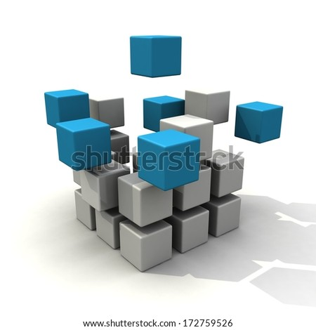 Blue and white cubes structure. System concept - stock photo