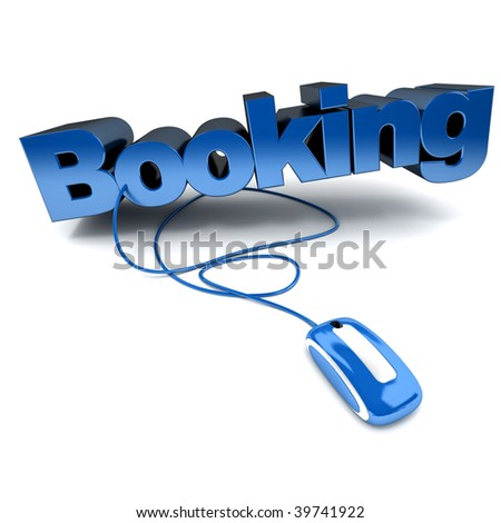 blue and white 3D illustration of the word booking connected to a computer mouse