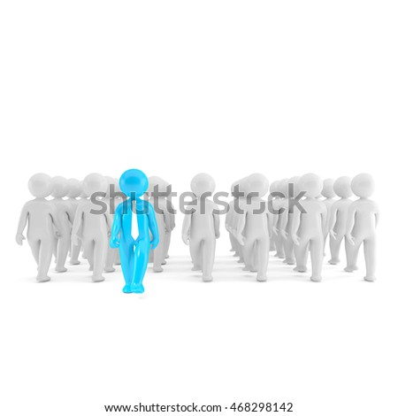 Blue and white 3D illustration people on white background