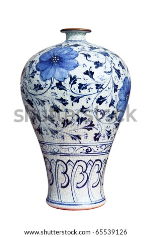 blue and white decorative porcelain vase - stock photo