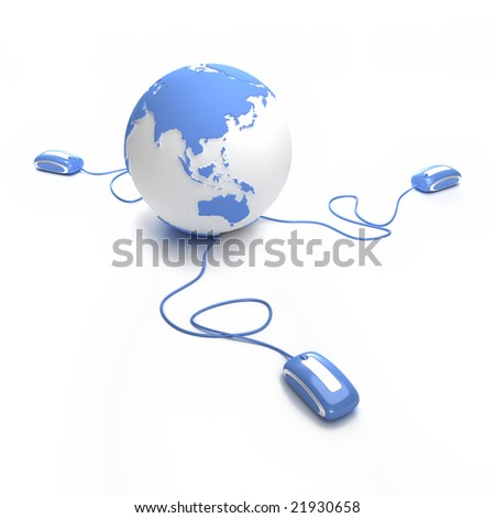 Blue and white Earth Globe oriented to Asia connected with three computer mice. - stock photo