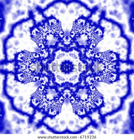 Blue and white fractal kaleidoscope that looks like a snowflake. - stock photo