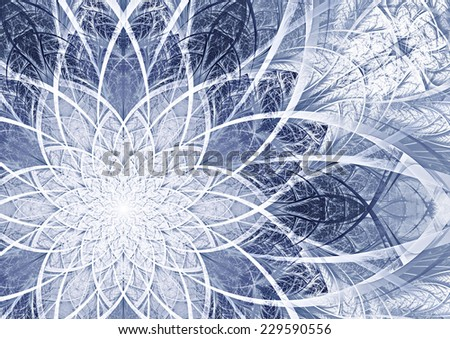 Blue and white icy abstract artistic snowflake. Winter background for Christmas designs. Beautifully decorated cover of your booklet. Fractal art - stock photo