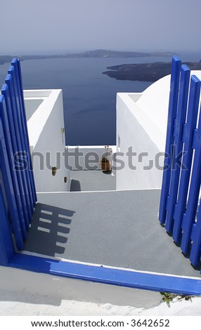 Blue and white on Santorini island, Greece - stock photo