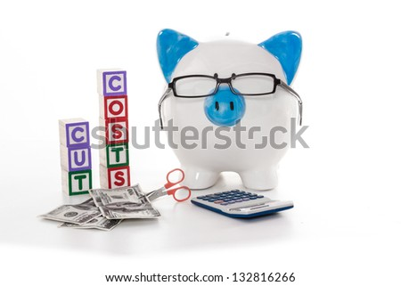 Blue and white piggy bank wearing glasses with cut costs blocks and scissors cutting dollars - stock photo