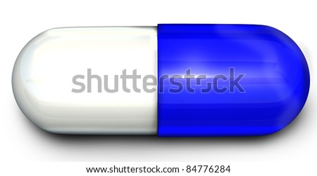 Blue and White Pill - stock photo